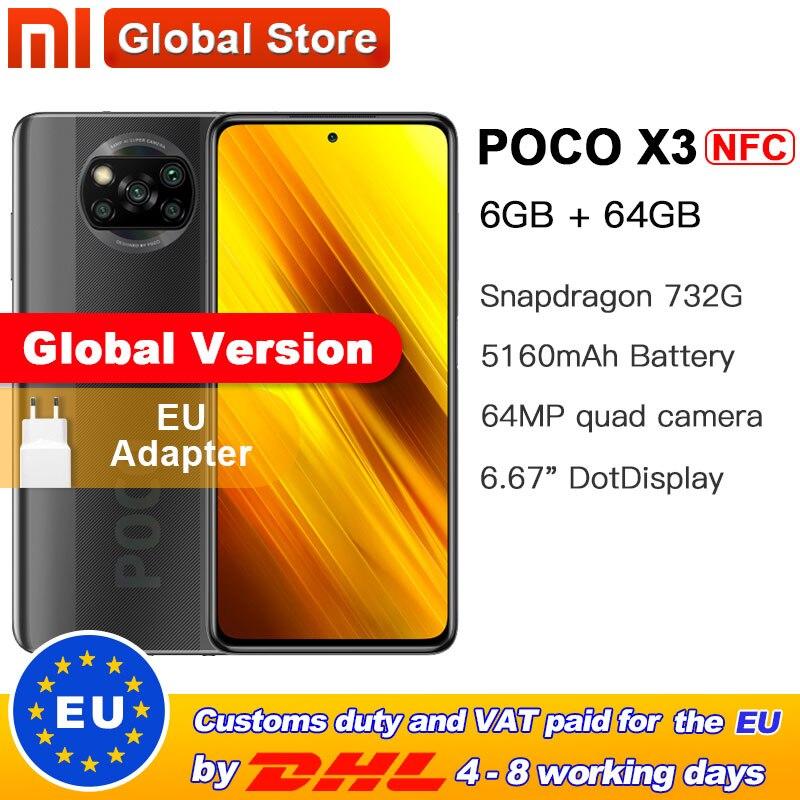 """Em estoque versão global xiaomi poco x3 nfc 6gb 64gb smartphone snapdragon 732g octa núcleo 64mp quad camera 6.67 """"120hz 5160mah"""