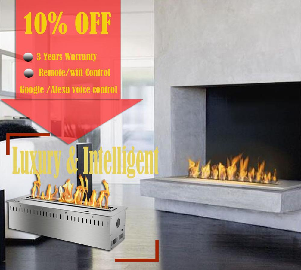 Inno Living Fire 72 Inch Indoor Ethanol Burner Alexa Voice Control Stainless Steel Ethanol Fireplace
