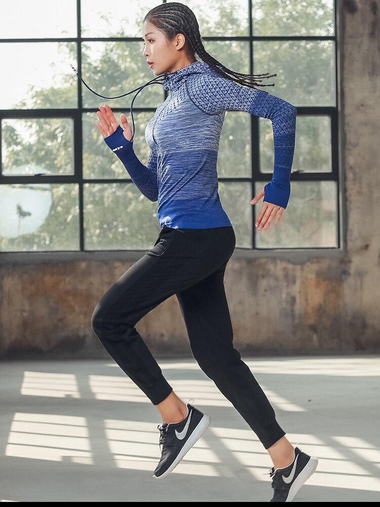 Spandex Women Winter Sports Yoga Wear Running Jacket Fitness Slim Zipper Hooded Coat