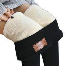 Preto feminino inverno grossas calças de veludo plus size quente cintura alta estiramento magro lápis calças casuais lã fleece leggings pant