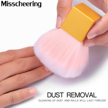 High Quality Nail Cleaning Dust Brush Square Gold Metal Handle Nail Art Care Manicure Pedicure Soft Small Angle Clean Brush Tool