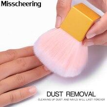 Wysokiej jakości czyszczenie paznokci szczotka do kurzu kwadratowy złoty metal uchwyt Nail Art pielęgnacja Manicure Pedicure miękkie mały kąt szczotka do czyszczenia narzędzi