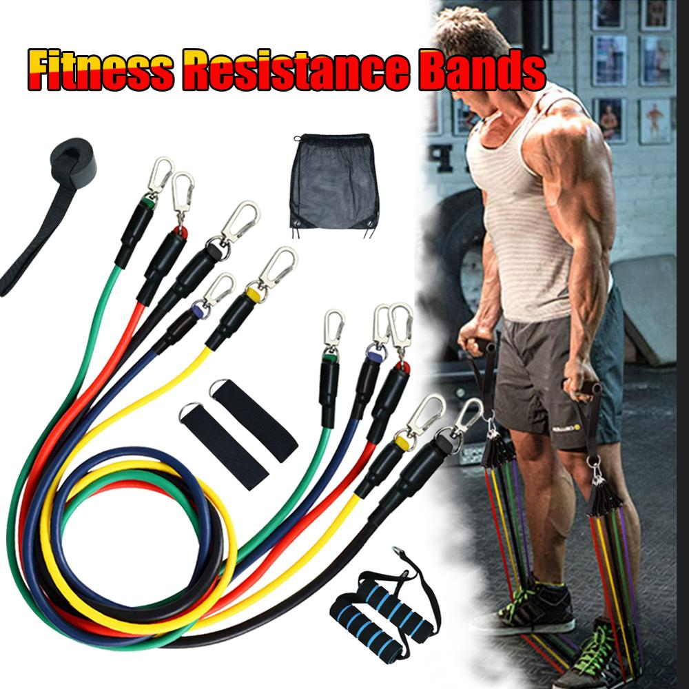 11pcs/set Pull Rope Fitness Exercises Resistance Bands Latex Tubes Pedal Excerciser Body Training Workout Yoga Hot sale In stock
