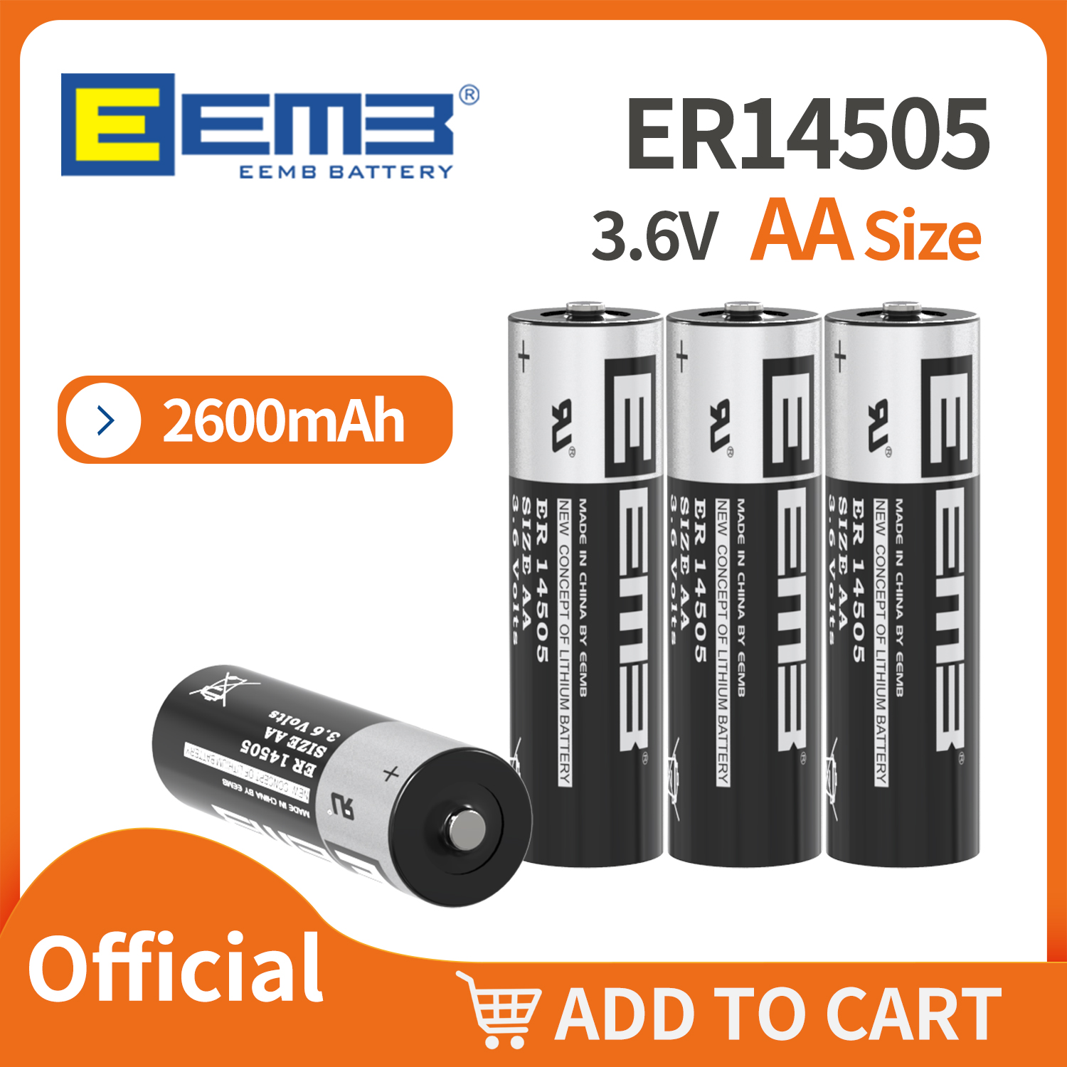 Official Store EEMB er14505 3,6 V AA Battery 2600 mAh PLC Lithium Batteries for Toys Camera Flashlight Non-rechargeable