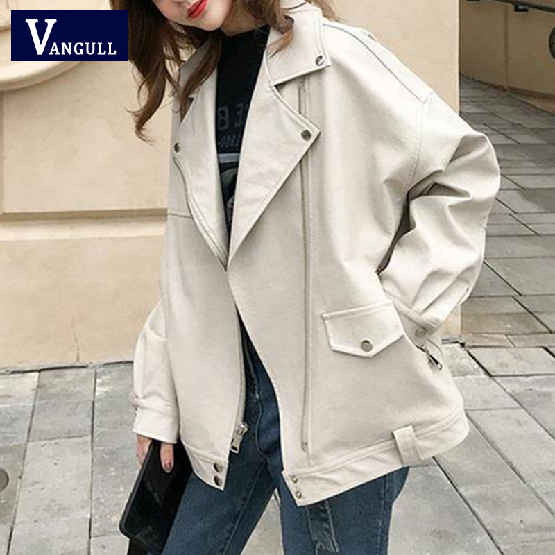 Vangull Fashion Oversized Coat Women Faux Leather Jacket Spring Autumn Loose Biker Motorcycle Jackets Female Punk Streetwear