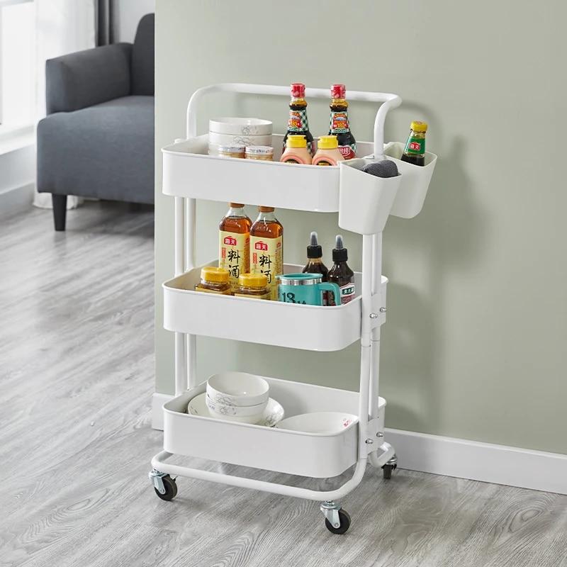 3 Tier Storage Organizer Rack Movable Kitchen Bathroom Shelf Metal Rolling Trolley Cart Basket Stand Wheels Save Space Holder Kitchen Islands Trolleys Aliexpress