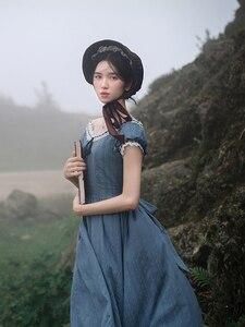 Женское винтажное платье средней длины, элегантное облегающее синее длинное платье в европейском стиле, повседневное кружевное платье с вы...
