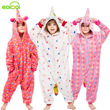 NEW children animal unicorn stitch panda pajamas set cute hooded sleepwear winter kids boys girls pyjamas warm Christmas onesies недорого