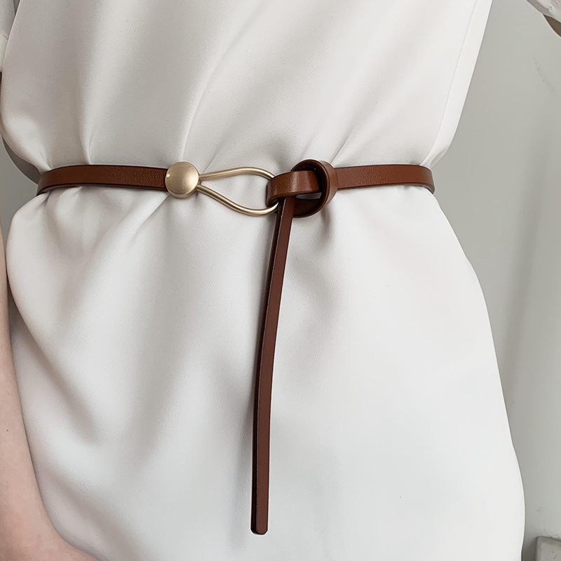 Luxury Brand Women Belts Thin Golden Buckle PU Leather Strap For Dress Trousers Casual Black Ladies Female Designer Waistband
