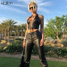 KLALIEN-crop tops punk de cuero negro para mujer, camisola elástica, camisetas sin mangas ajustadas de cuero suave 2020