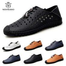 Мужская повседневная обувь с перфорацией лоферы без застежки