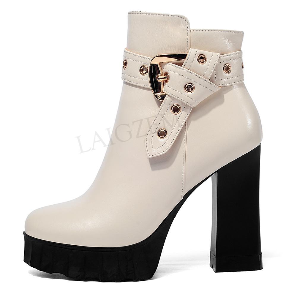 LAIGZEM Top qualité femmes bottines boucle sangles Chunky talons hauts en cuir plate-forme bottes chaussures imperméables dames Zip 34 39