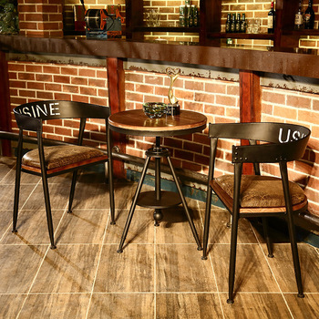 American Dessert Leisure Furniture Combination Milk Tea Shop Adjustable Solid Wood Small Round Tables and Chairs Furniture