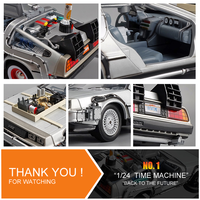 Welly 1:24 Diecast Alloy Model Car DMC-12 delorean back to the future Time Machine Metal Toy Car For Kid Toy Gift Collection 5
