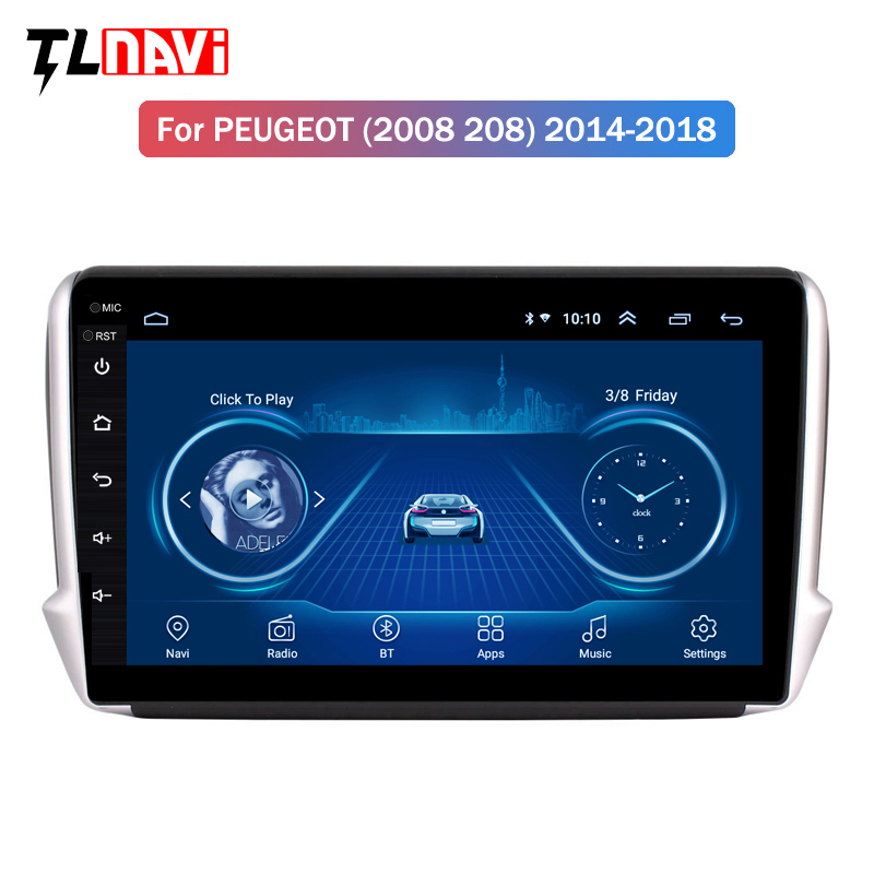 IPS 2.5D Android 8.1 Car GPS Multimedia For <font><b>Peugeot</b></font> 2008 <font><b>208</b></font> CAR DVD Player 2014 2015 2016 2017 2018 with <font><b>Radio</b></font> Bluetooth image