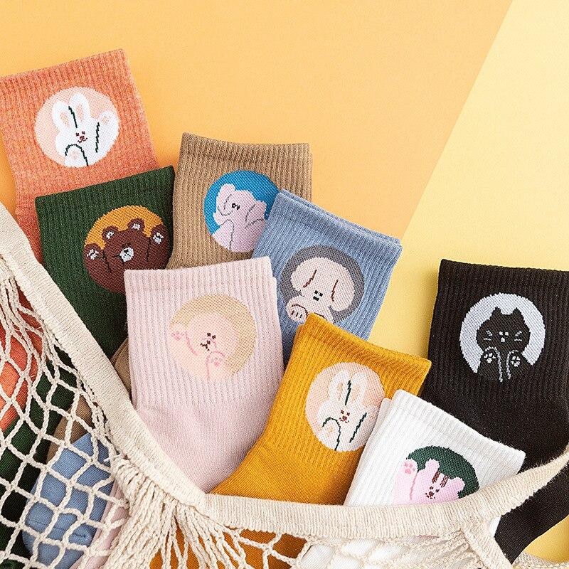 New Japan And Korea Harajuku Ladies College Cartoon Animal Bear Rabbit Dog Elephant Tube Socks Wholesale Students Sports Socks