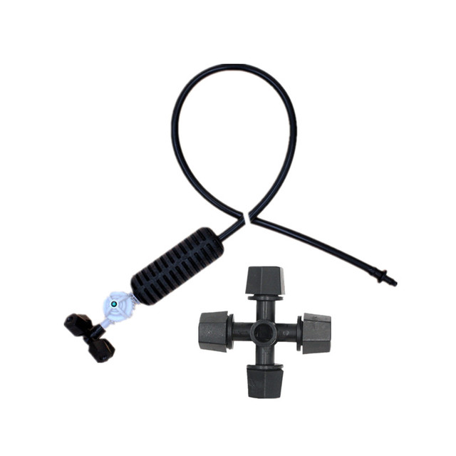 Black CROSS Misting Sprinkler ชุด Antidrip Connector สวนหยดชลประทานเรือนกระจกรดน้ำอุปกรณ์