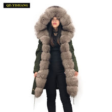 parka real fur Winter fur coat woman real fur jacket real fur coat Real rabbit fur lining Natural Fox Fur collar QD YISHANG cheap Thick Warm Fur PKZT19LF1 Wool Liner REGULAR Full Pelt WOMEN With Fox Fur Collar zipper Solid Casual Slim