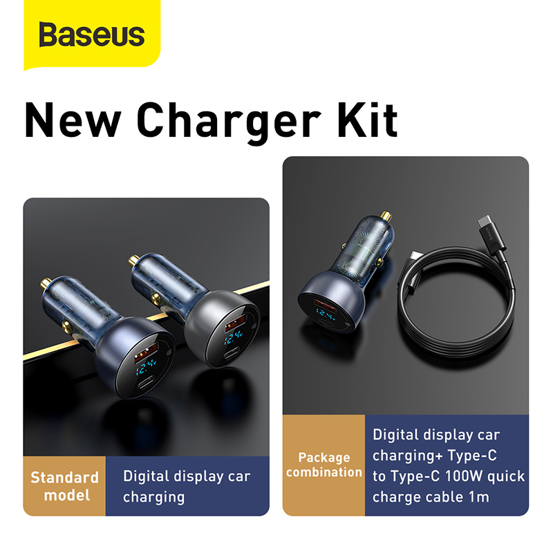 Baseus 65W Car Charger Dual USB Quick Charge 4.0 3.0 USB Car Charger for Huawei SCP QC4.0 QC3.0 Fast Charging Charger For iPhone 6