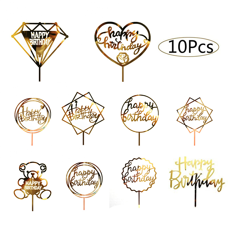 10Pcs/bag Gold Acrylic Happy Birthday Cake Topper Dessert Tamping Party Cake Decorating Tools  Kids Favors Party Decorations