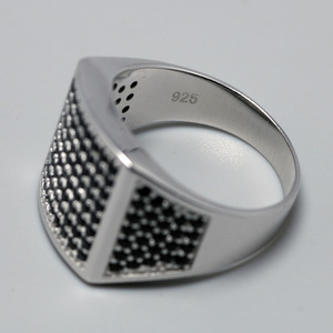 Image 4 - 925 סטרלינג כסף Mens שחור CZ אבן טבעת יוקרה גברים של חתונה טבעות מיקרו סלול מעוקב זירקון טורקיה תכשיטי אנל masculino