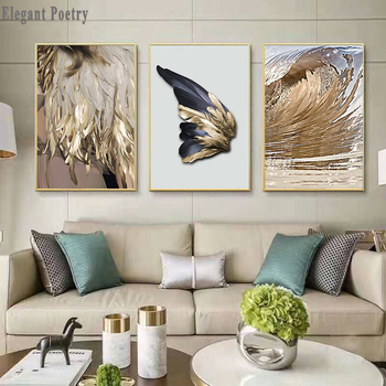 Nordic Decor Feathers Canvas Painting White Poster And Print Unique Modern Golden Wings Wall Art For Living Room Bedroom Aisle image