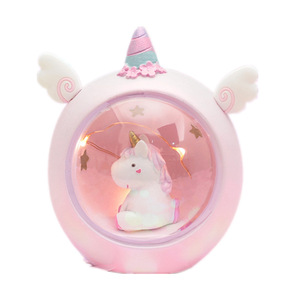 gift convenient enfoldment energy conservation unicorn round copper string led usb computer night desk table light lamp