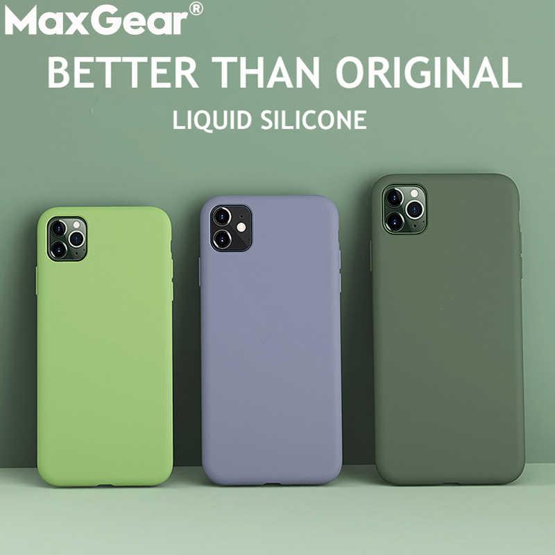 Liquido In Silicone Sottile Per il Caso di iPhone 11 Pro 5.8 XS Max 6 6S 7 8 Più di X XR 5S SE 4 4s Originale Della Caramella Della Copertura Completa Morbido Fonda iPhone11