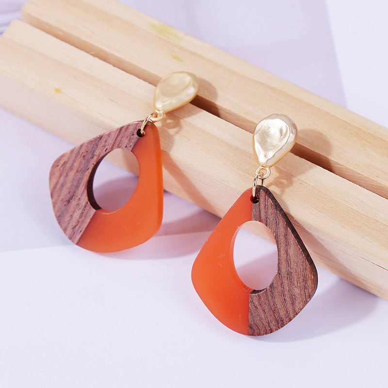 2019 Fashion Resin Wooden Earrings For Women Vintage Bohemian Square Geometric Drop Earring Statement Jewelry Ladies Gifts