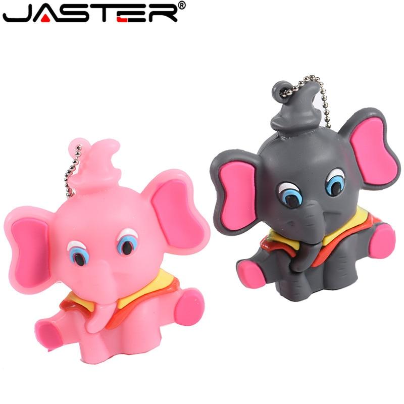 JASTER USB Flash Drive 4GB 16GB 32GB 64GB Cartoon Elephant Memory Stick Real Capacity Pendrive Cute Mini Computer Gift Pen Drive