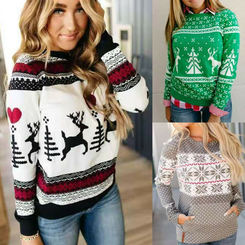 2020 Fashion  US Women Loose Christmas Xmas Knitted Pullover Jumper Sweater Long Sleeve Top S-2XL