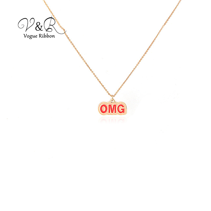 Imitation gold plated pendant necklace, cute epoxy OMG letters pendant, fashion jewelry for girl  (1)