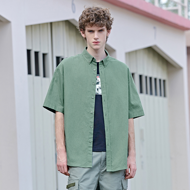 Cotton Shirt Men 2019 Summer New Trend Streetwear Solid Shirt Man