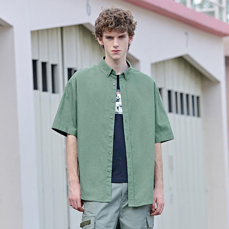 Cotton Shirt Men 2019 Summer New Trend Streetwear Solid Shirt Man