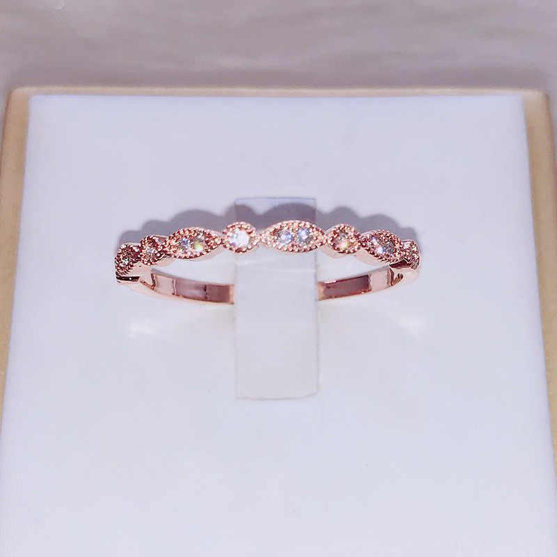 Vintage Art Deco Solido Oro Rosa Zircone Fidanzamento Anello di Cerimonia Nuziale Dei Monili Femminile best Regalo anillos mujer corona anello