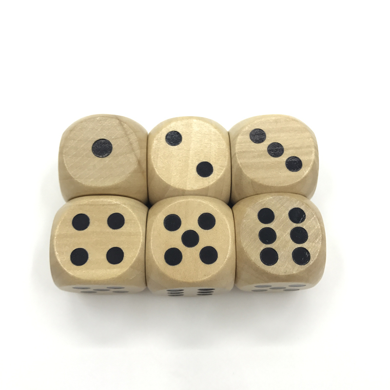 New 5Pcs/Lot High-quality 25mm Woodiness Drinking Dice Solid Wood Puzzle Children Interesting Teaching Dice Set Wholesale image