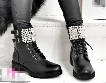 [GOGD] Winter Women Bead Flat Zipper Ankle Boots Pearl Round Toe with Decoration
