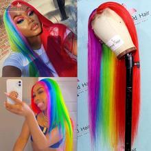 Parrucca preferita per capelli umani mezza arcobaleno rosso parrucca brasiliana Remy 13x4 parrucca anteriore in pizzo dritto parrucche trasparenti in pizzo per donna