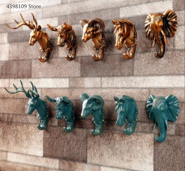 Retro Animal Wall Hook Decoration Creative Home Decorations Coat Hook Hook Resin Deer Head Elephant Pendant Art Fashion Key Hook