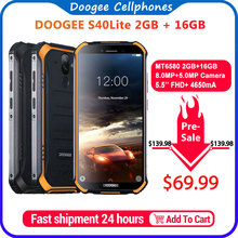 IP68 DOOGEE S40 Lite Rugged Phone Mobile Phone 5.5inch Display 4650mAh 8.0MP Fin