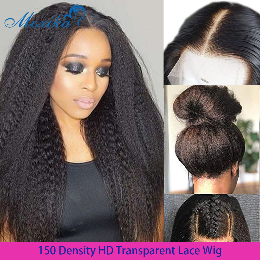 Moxika HD Transparent Lace Wig Kinky Straight Lace Frontal Wig 13x4/13x6 Mongolian Yaki Lace Front Human Hair Wigs Pre Plucked