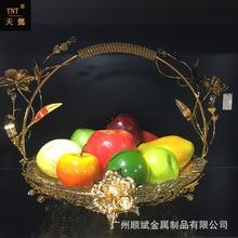 European style metal flat fruit plate round food display plate KTV high grade fashion design plate