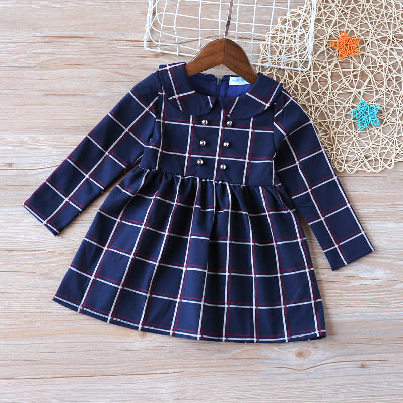 2019 Girls Dress New Autumn College Winds Style Girls Clothing Long Sleeve Lapel Lattice Pattern Children Kids Dress