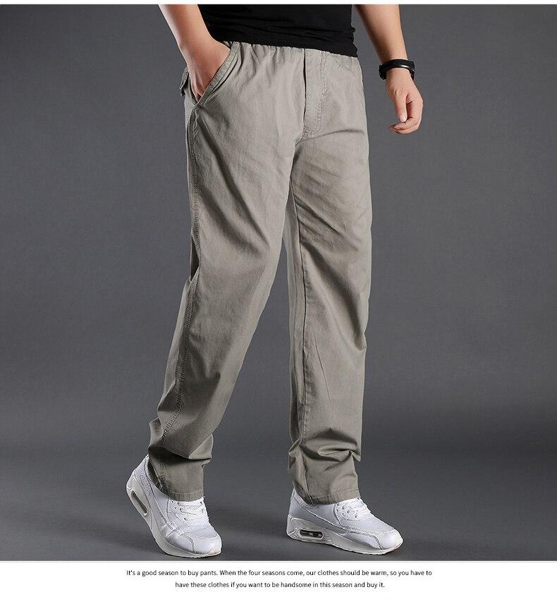 L-6XL algodão calças de carga dos homens