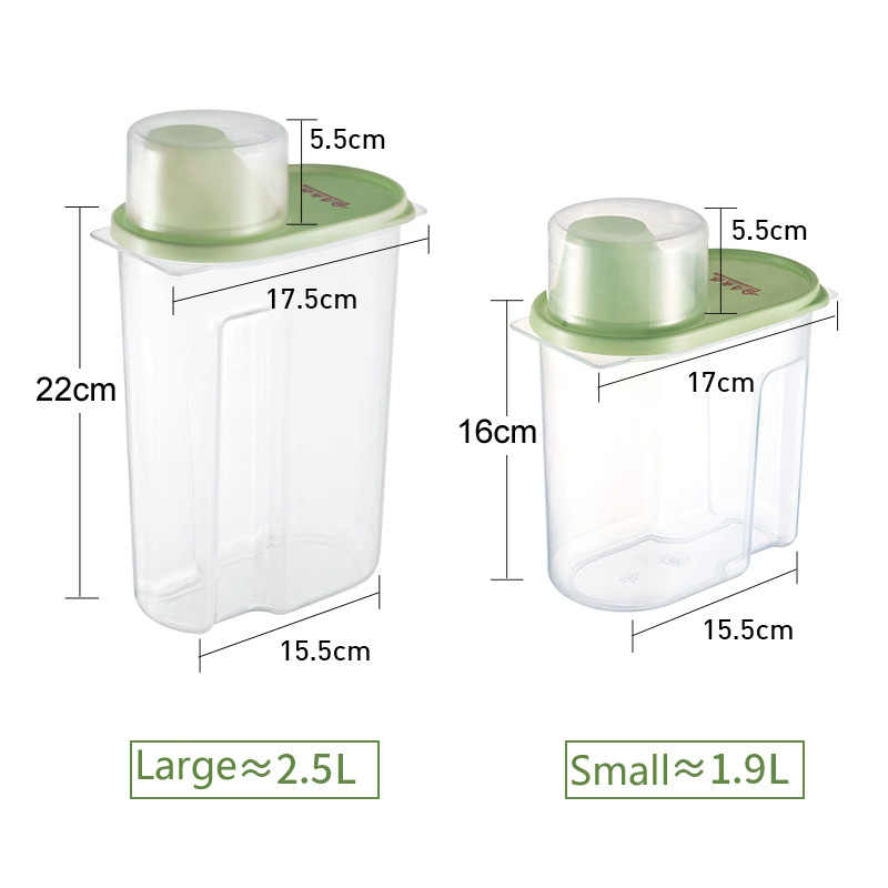 PP Makanan Penyimpanan Kotak Plastik Bening Wadah Set dengan Pour Tutup Dapur Penyimpanan Botol Toples Kering Biji-bijian Tangki 1.9L-2.5L H1211