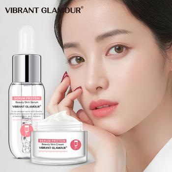VIBRANT GLAMOUR Serum Protein krem do twarzy regenerujący Serum do twarzy przeciwzmarszczkowy nawilżający Lifting esencja do twarzy wrażliwy zestaw do pielęgnacji skóry tanie i dobre opinie Kobiet Face VG-TZ065 Serum protein nicotinamide hyaluronic acid 30g +15ml 20190723866 2 pieces Chiny GZZZ YGZWBZ Serum Protein Beauty Skin Face Cream Eye Cream Face Toner