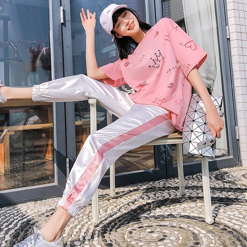 One Piece / 2 Piece Set Women 2020 New Summer Clothes For Women Sports Suit Female Tide Fashion Large Size Loose Casual Suit