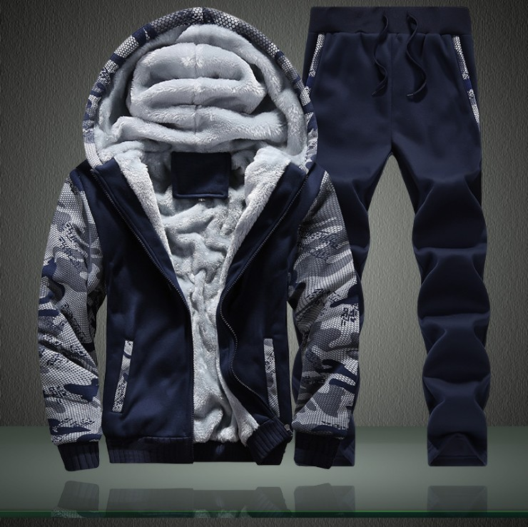Winter Brushed And Thick Set Young MEN'S Hooded Two-Piece Set Sports Hoodie Solid Color Thread D62