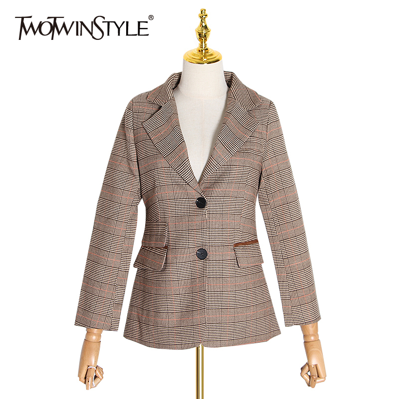 TWOTWINSTYLE Patchwork PU Leather Plaid Women's Blazers Notched Long Sleeve Tunic Hit Color Elegant Suit Female Clothes 2019 New