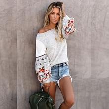 цены Printed Sleeve Knit Sweatshirts Women Blouse Patchwork Top Designed Back Keyhole Long Billowy Sleeve Sweet Street Lady Outerwear